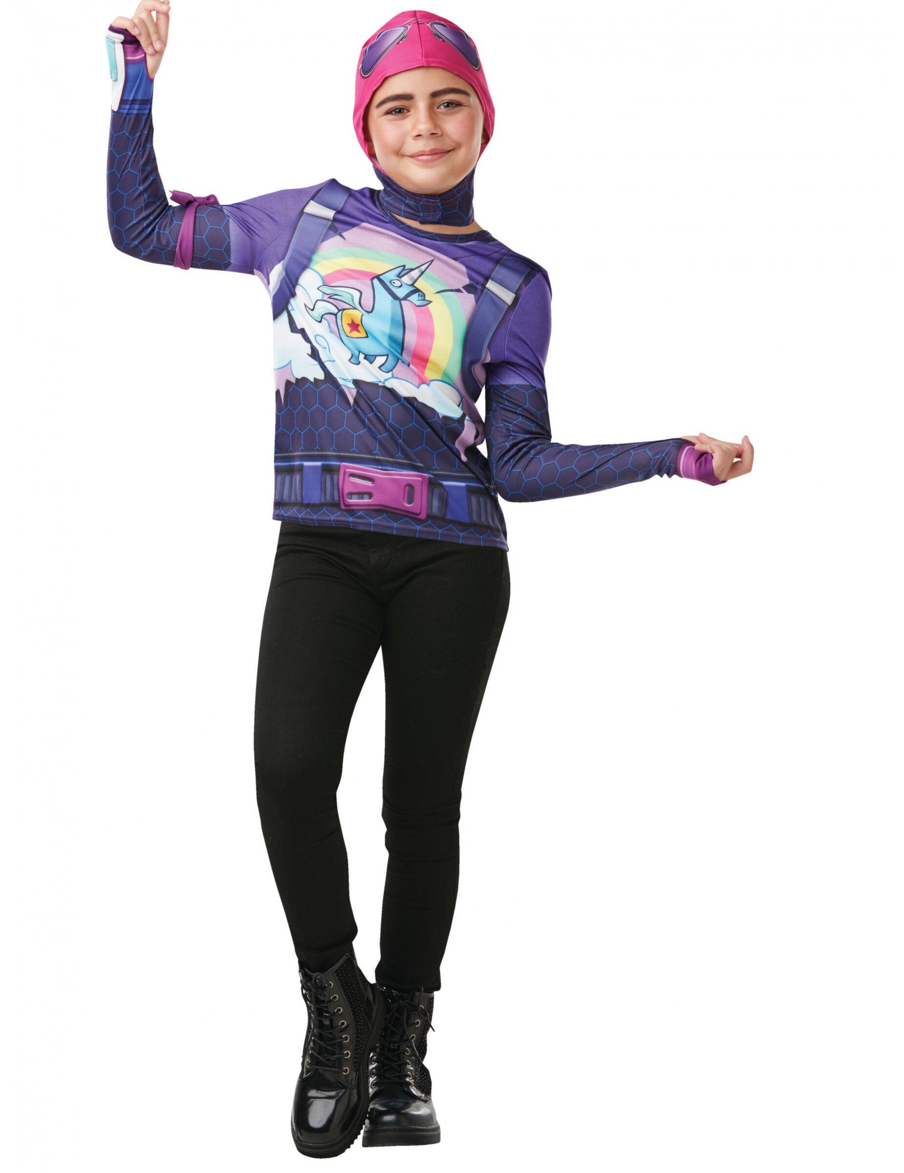 Vegaoo.es Camiseta y máscara Brite Bomber Fortnite adolescente - 9 a 10 años (129 a 140 cm)