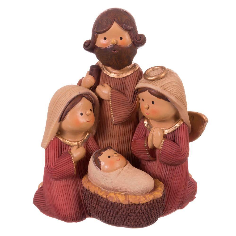 LOLA home Belén de Navidad Nacimiento marrón de resina de 13x9x15 cm