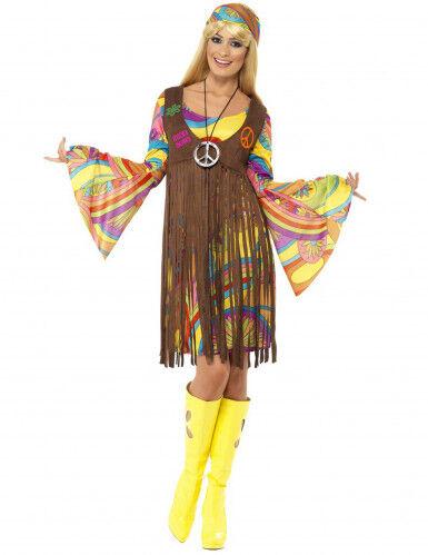 Disfraz hippie flores años 70 S