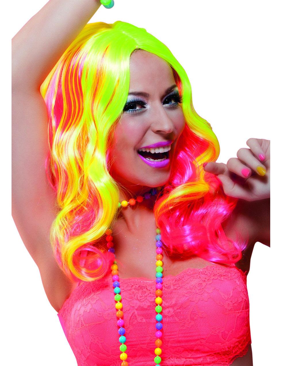Vegaoo.es Peluca larga rosa y amarillo fluorescente mujer