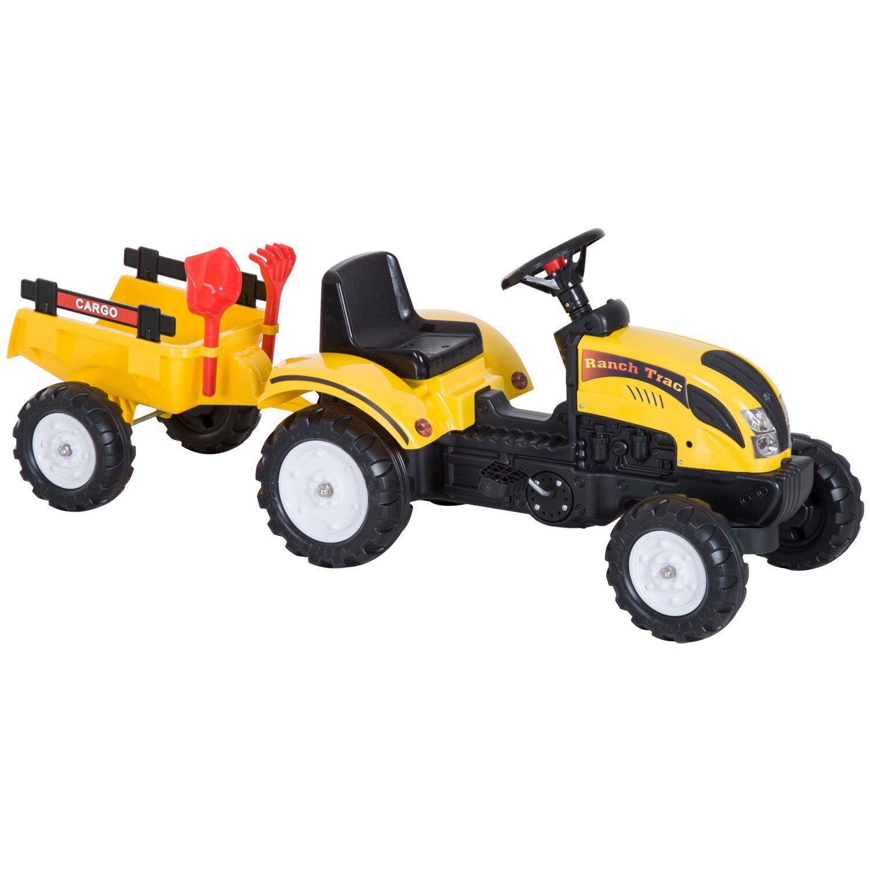 HOMCOM Tractor Pedal Con Remolque Para Niños 3-6 Años Juguete De Montar Coche De Pedales