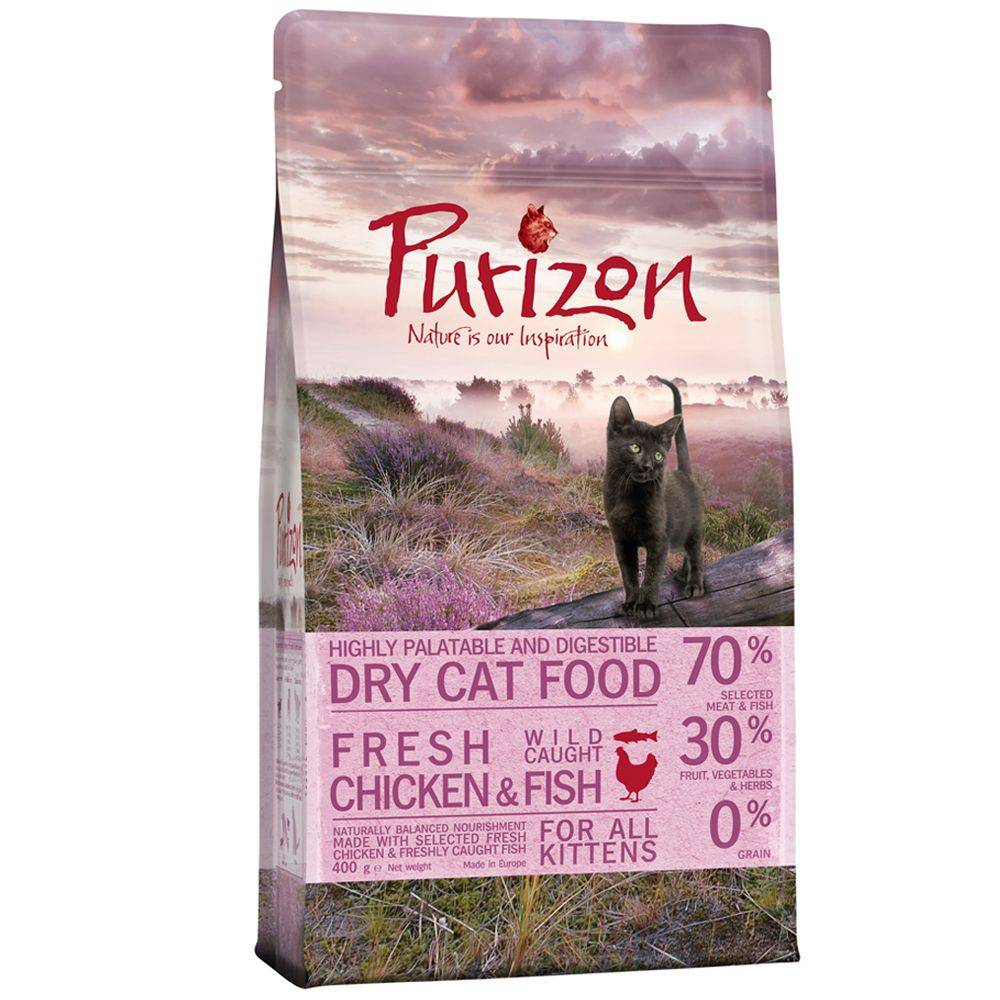 Purizon Cat Pienso Purizon Kitten 400 g + comida húmeda Cosma Nature Kitten 6 x 70 g - Pack de prueba mixto - Pienso Kitten 400 g + Cosma Nature 6 x 70 g con pollo y atún