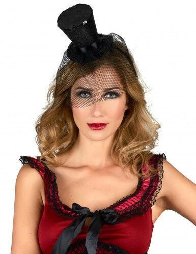 Minisombrero de copa negro de viuda para mujer Única