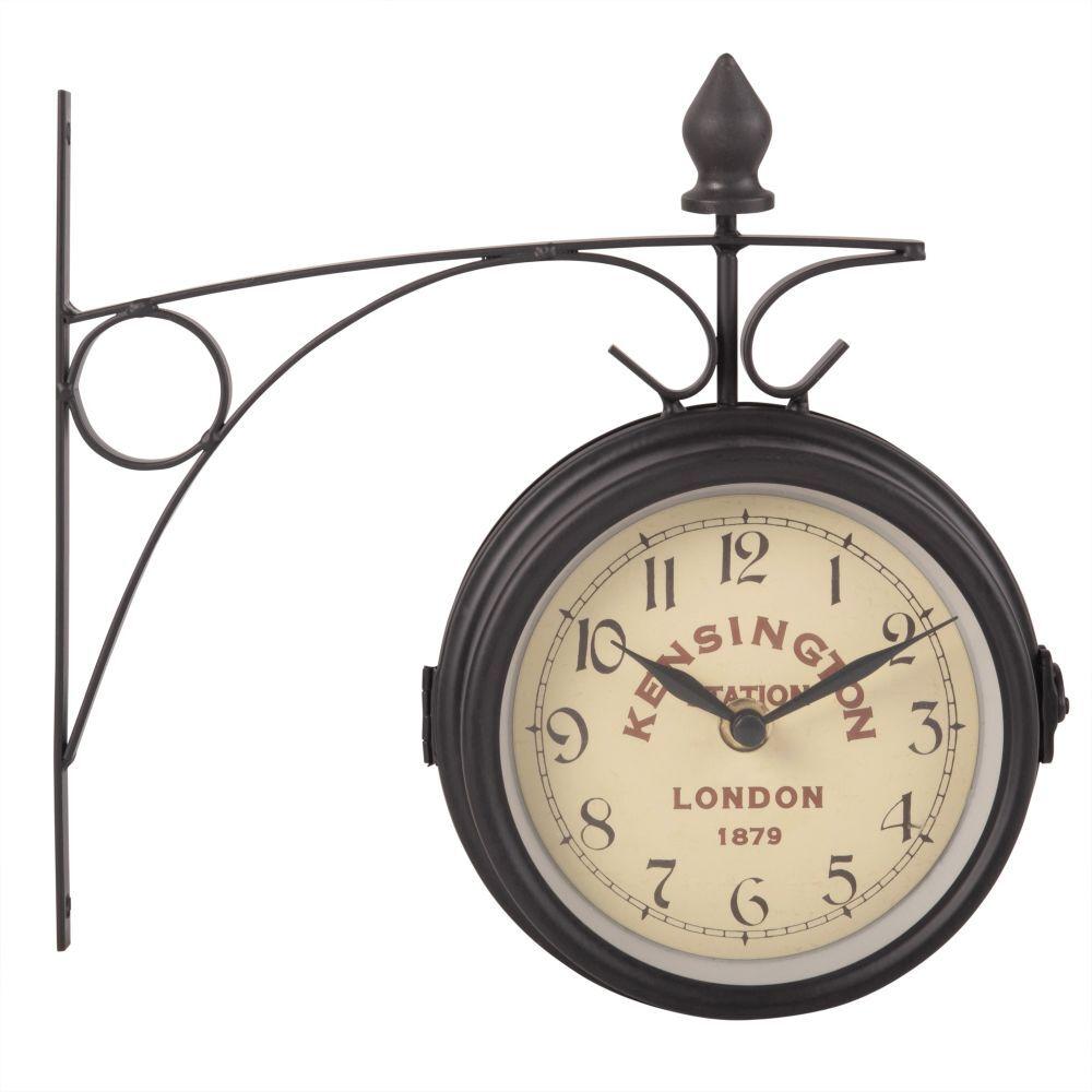 Maisons du Monde Reloj de pared de metal gris pizarra 25x23