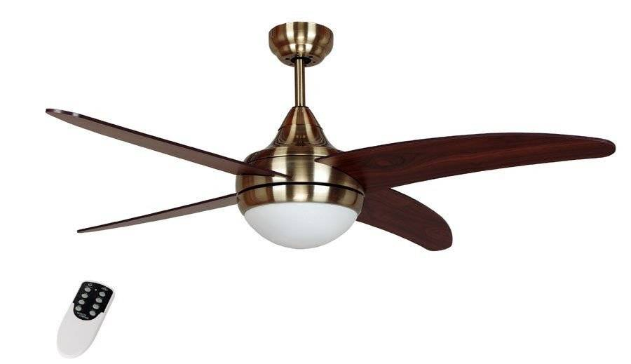 LBA Home Modern Ceiling Fan 122 Cm Antique Brass, Walnut Blades And Remote Control Lba Home Alouette