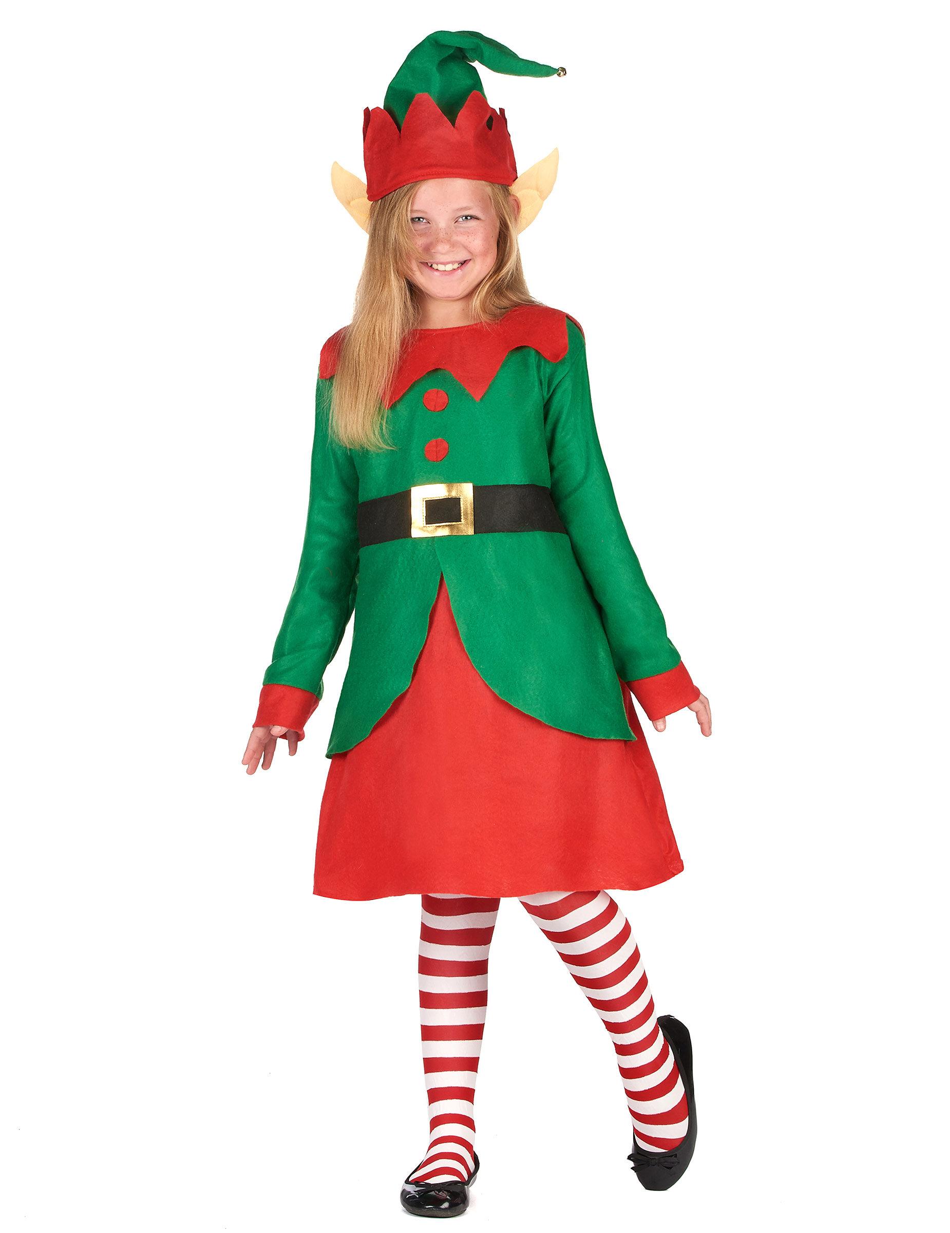 Vegaoo.es Disfraz vestido duende de Papá Noel niña - 7-9 años (M)