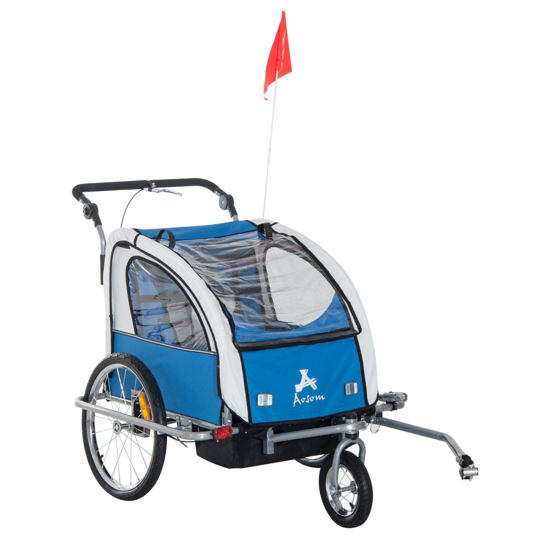 HOMCOM Remolque Infantil De Bicicleta Con 2 Plazas Y Rueda 360º Con Acoplamiento Universal