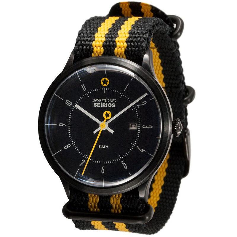 DayeTurner Reloj de caballero analógico SEIRIOS, negro - nailon negro/amarillo