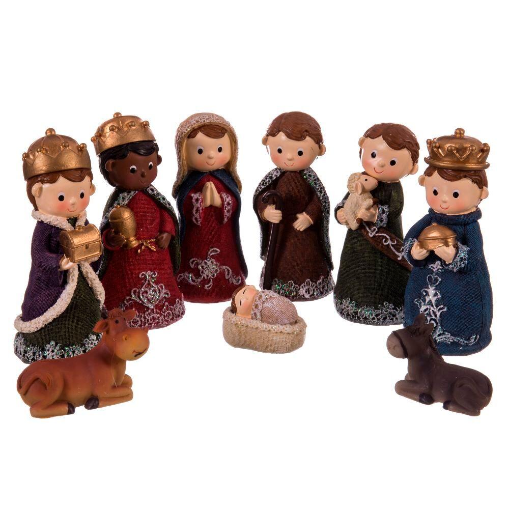 LOLA home Belén de Navidad Nacimiento de 9 figuras de resina de 14 cm