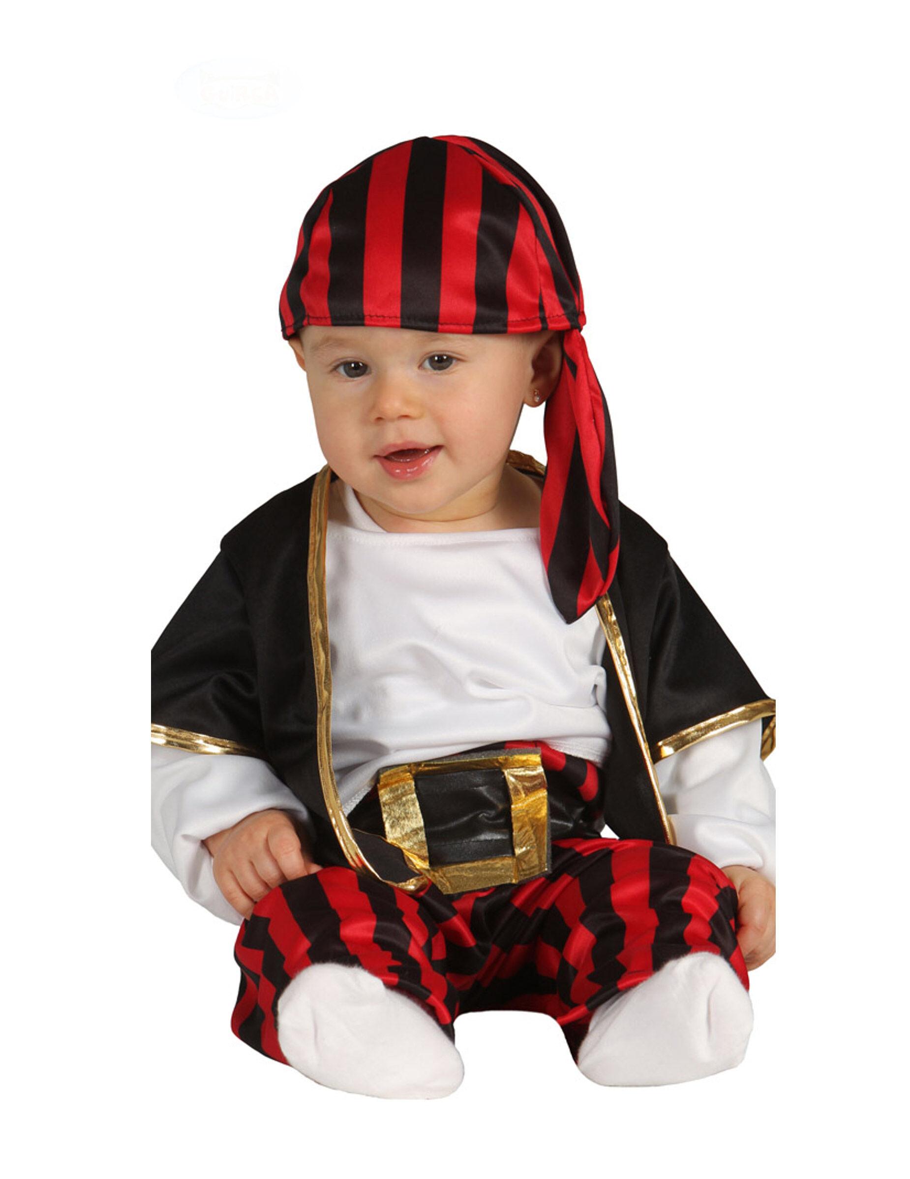 Vegaoo.es Disfraz capitán de piratas negro y rojo bebé - 1-2 años (92-93 cm)