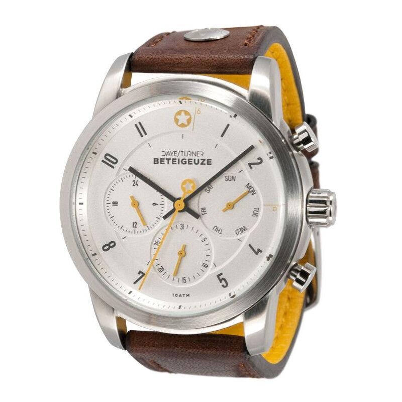 DayeTurner Reloj de caballero analógico BETEIGEUZE, plata - cuero marrón oscuro