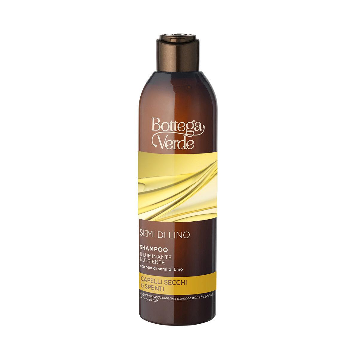 Bottega Verde Champú iluminador nutriente - con aceite de semillas de Lino (250 ml) - cabello seco o apagado