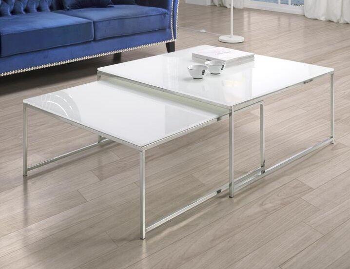 Juego mesas de centro cristal blanco 90x90