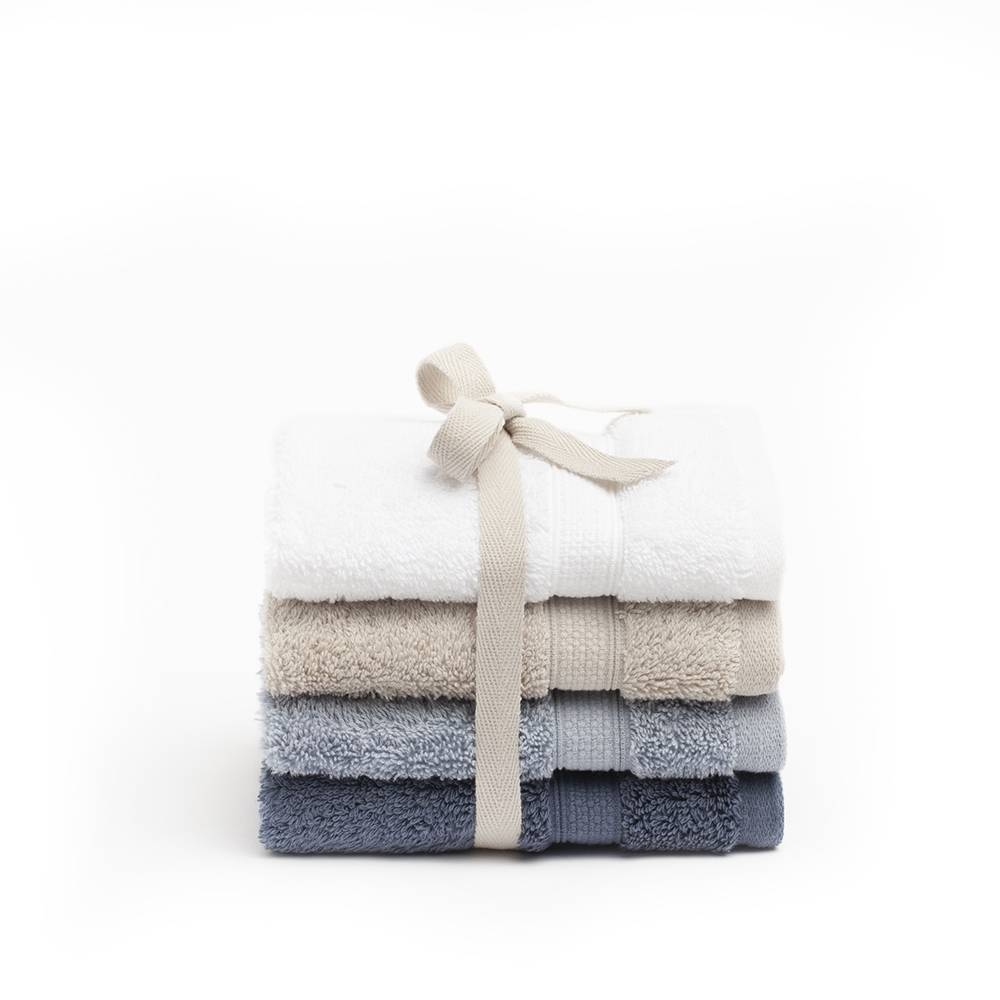 Basics Set de 4 toallas de tocador 30 x 30 cm de algodón egipcio 600 g Menorca