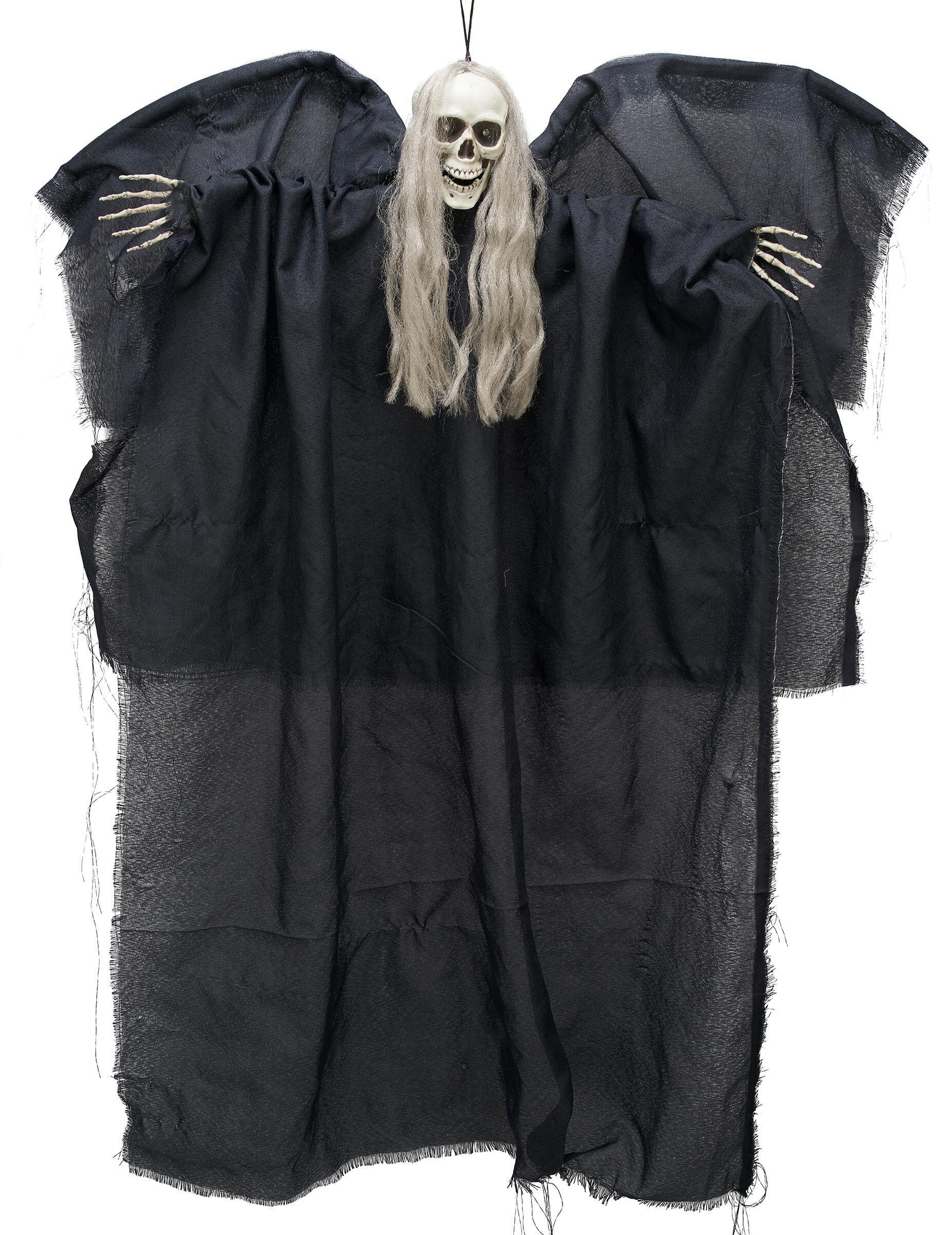Vegaoo.es Decoración ángel negro de la muerte luminoso para colgar 110 cm