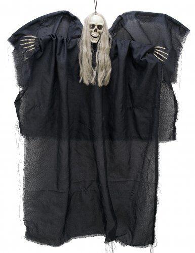Decoración ángel negro de la muerte luminoso para colgar 110 cm Única
