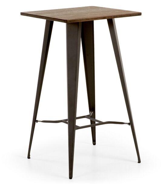 Mesa alta de bar estilo industrial tolix metal grafito sobre madera