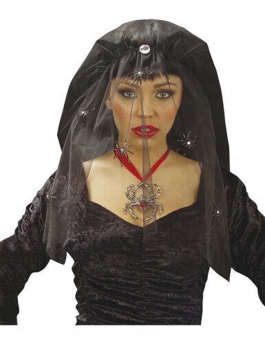 Velo viuda negra con arañas mujer Halloween Talla única
