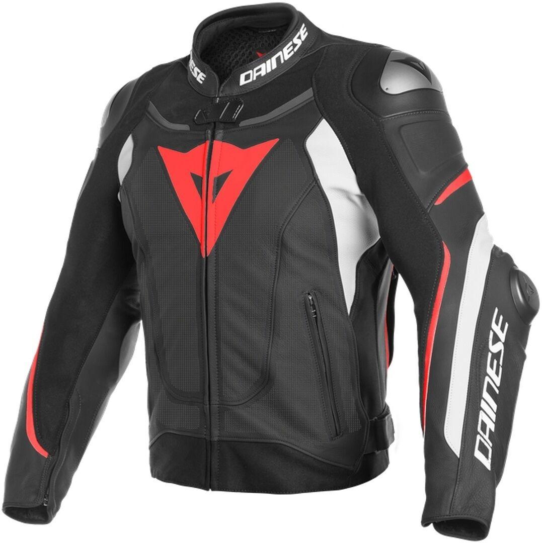 Dainese Super Speed 3 Chaqueta de cuero moto perforada Negro Blanco Rojo 48