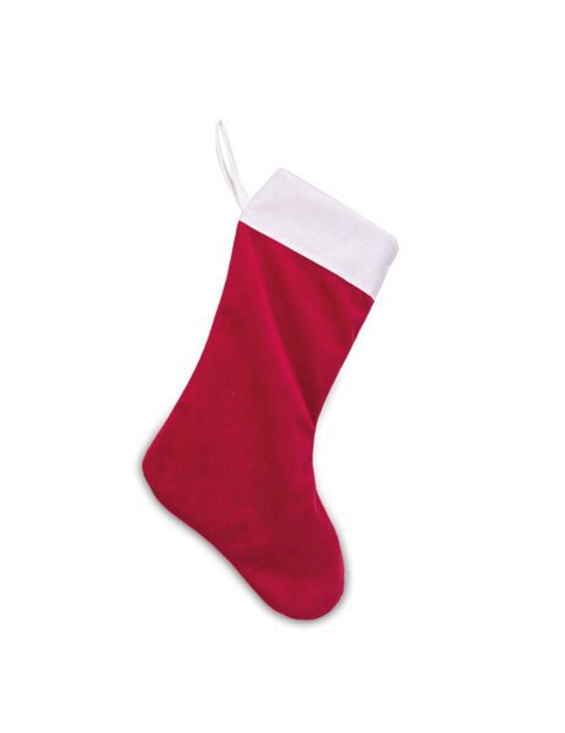 Vegaoo.es Bota Papá Noel terciopelo rojo y algodón blanco 29 x 48 cm
