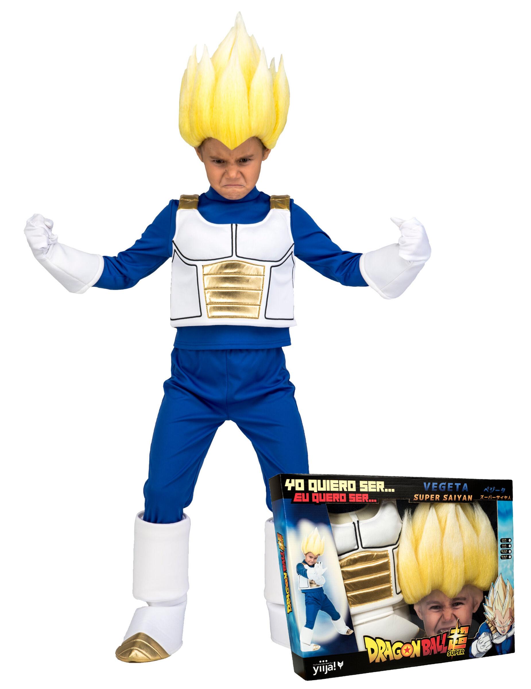 Vegaoo.es Disfraz Super Saiyajin Vegeta Dragon Ball niño con peluca - 5-6 años