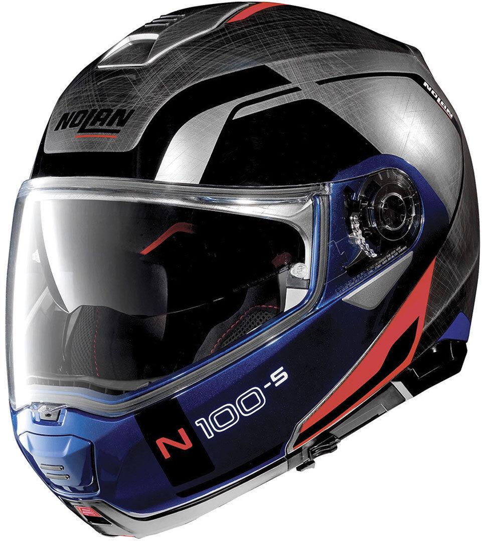 Nolan N100-5 Consistency N-Com Casco Azul Plata 2XL