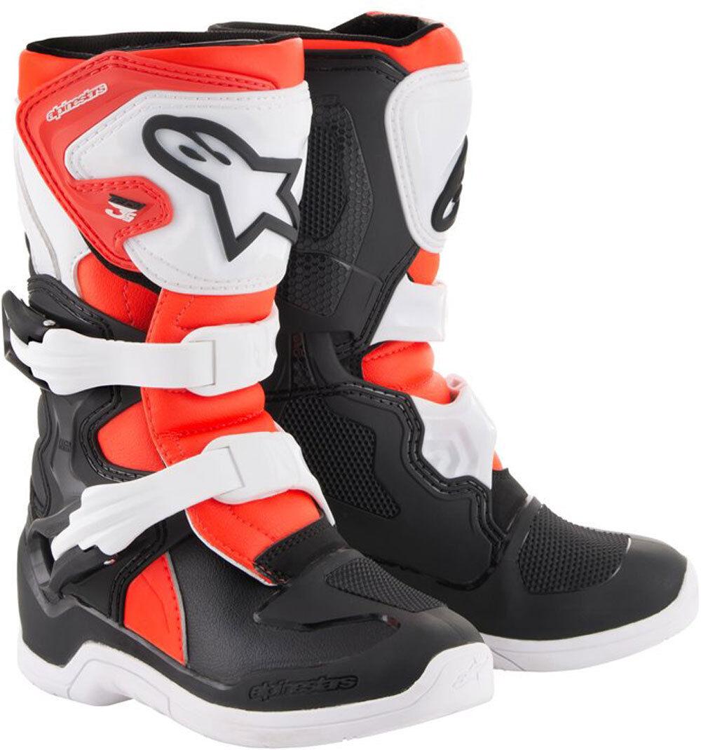 Alpinestars Tech 3S Niños botas de Motocross Negro Blanco Rojo 28