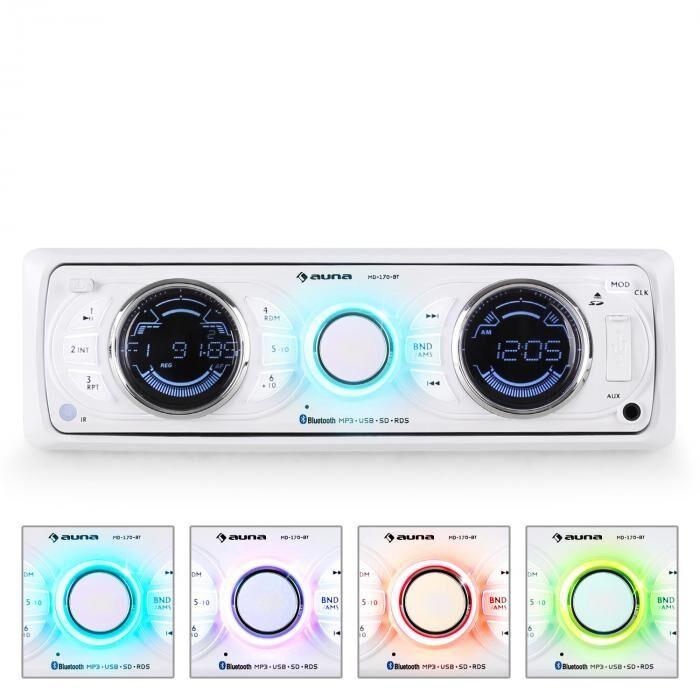 Auna MD-170-BT Radio para coche MP3 USB SD RDS AUX blanco
