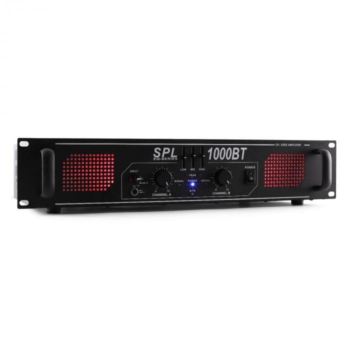 Skytec SPL 1000BT Amplificador Hifi PA bluetooth AUX LED EQ