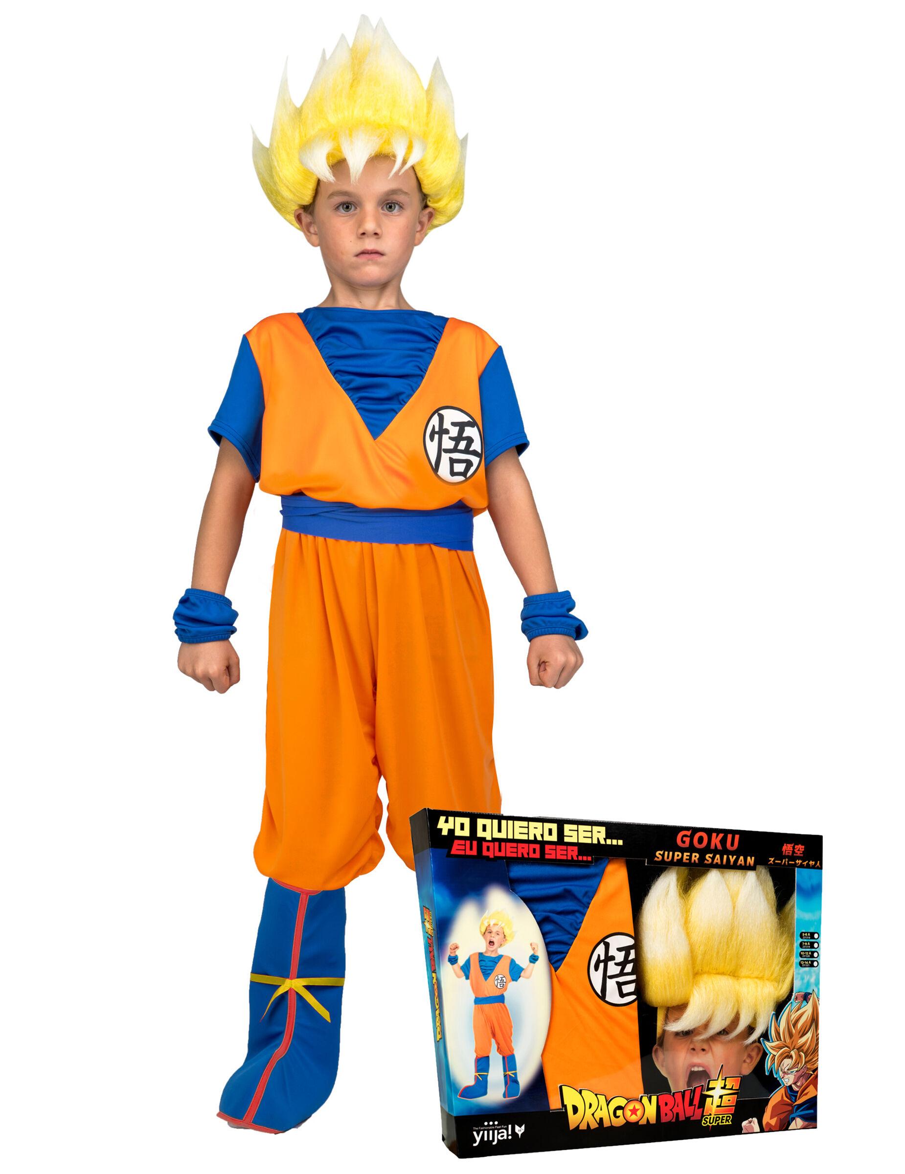 Vegaoo.es Disfraz Super Saiyajin Goku Dragon Ball niño con peluca en caja - 10-12 años