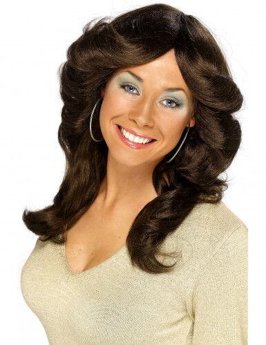Peluca larga color castaño de los años 70 para mujer Talla única