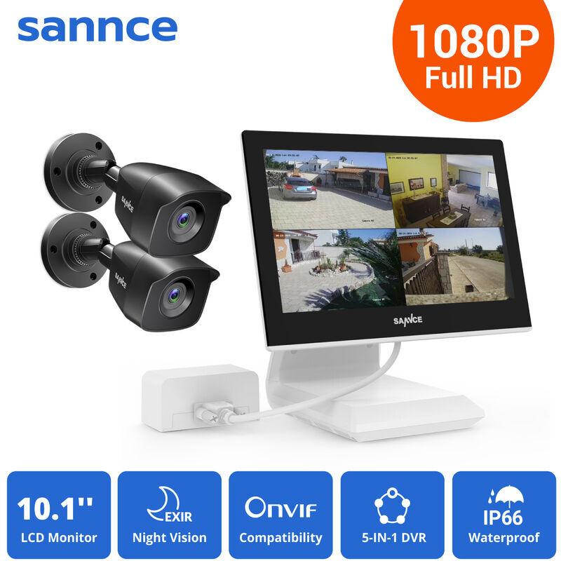SANNCE KIT Video Vigilancia con pantalla 10.1 pulgadas LCD 4CH DVR + 2 cámara
