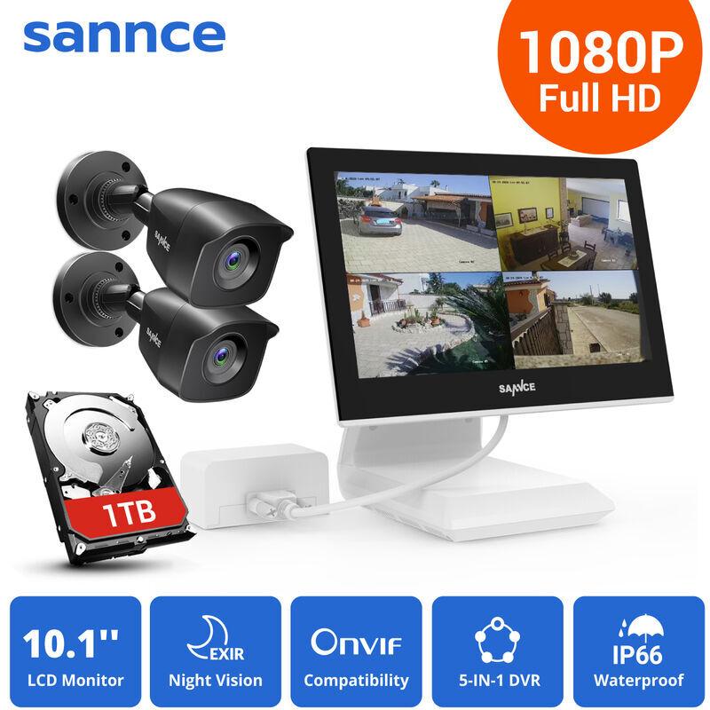 SANNCE KIT Video Vigilancia con pantalla 10.1 pulgadas LCD 4CH DVR + 2