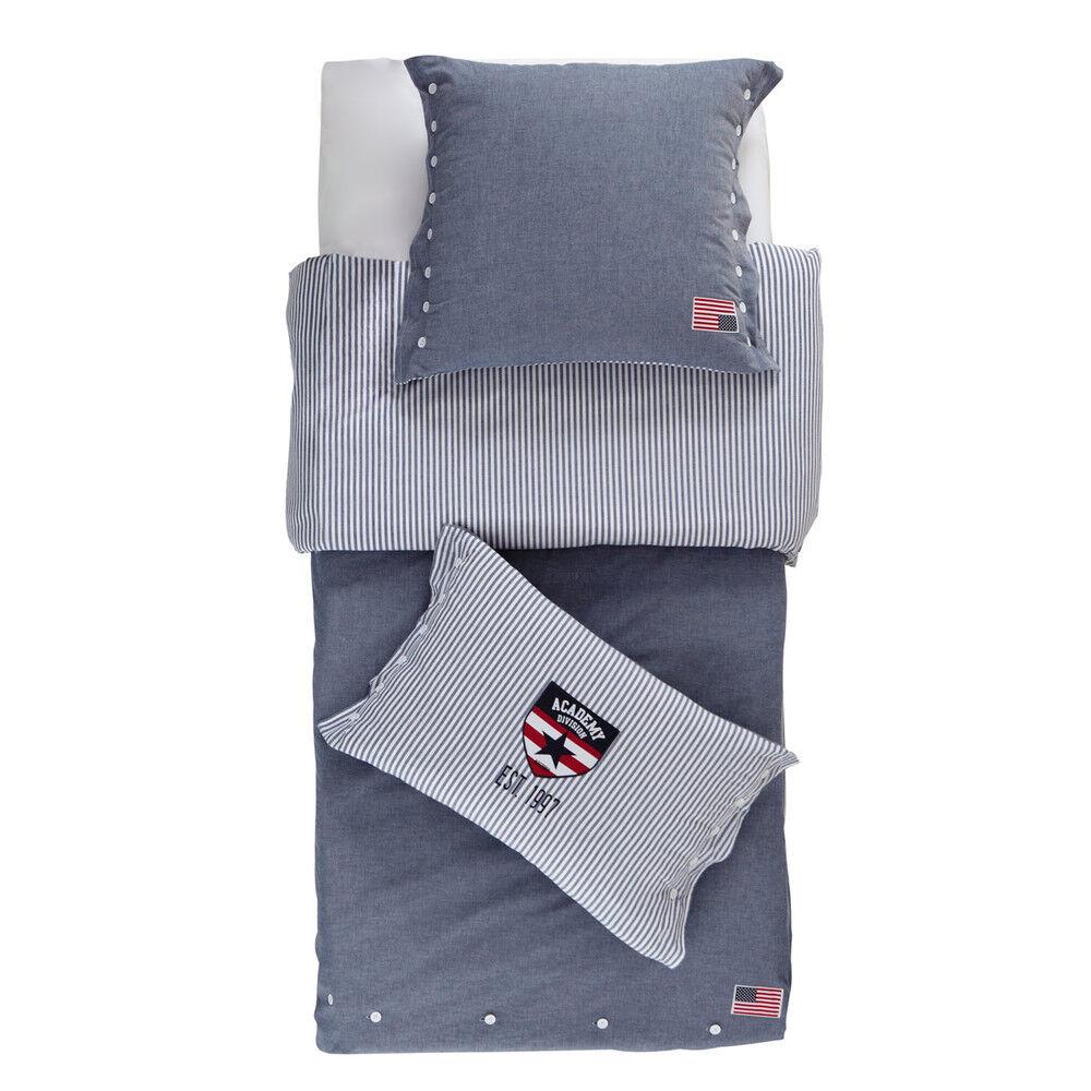 Maisons du Monde Juego de cama de cambray de algodón en azul 140×200cm PRINCETON
