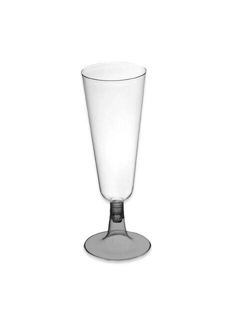 Copa de cava transparente con pie plata de 150 ml - 4 unidades