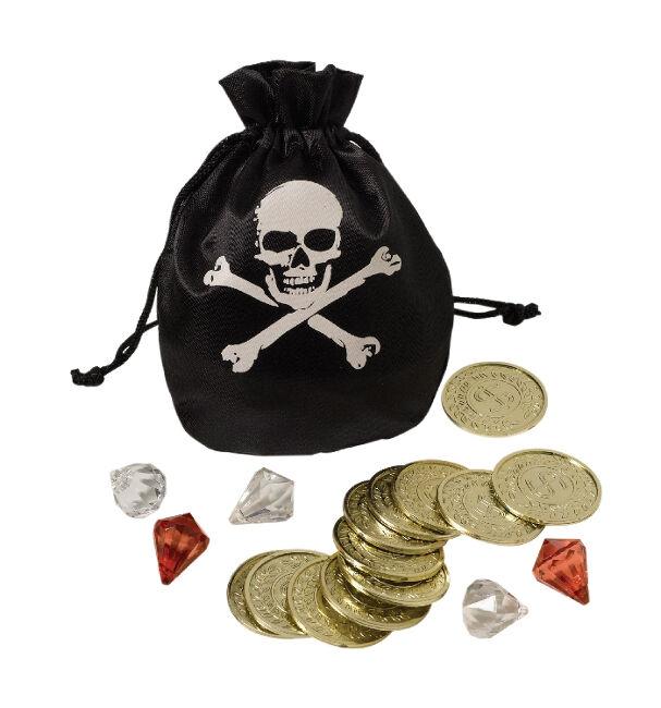 Conjunto de bolsa y monedas pirata