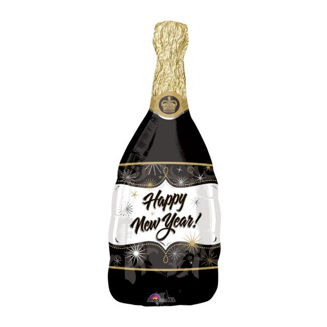 Globo silueta XL botella de cava año nuevo - 91 x 36 cm