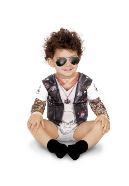 Viving Camiseta disfraz de motero del infierno para bebé - Talla 12 meses