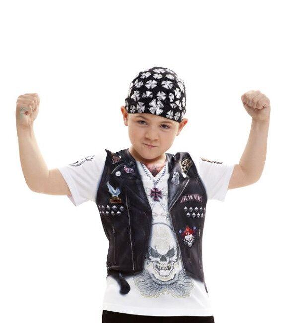 Viving Camiseta disfraz de motero del infierno para niño - Talla 4 a 6 años