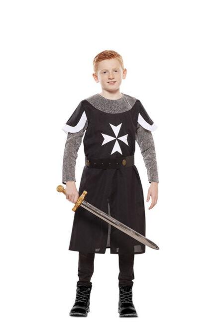 Fyasa Disfraz de caballero medieval negro para niño - Talla 7 a 9 años