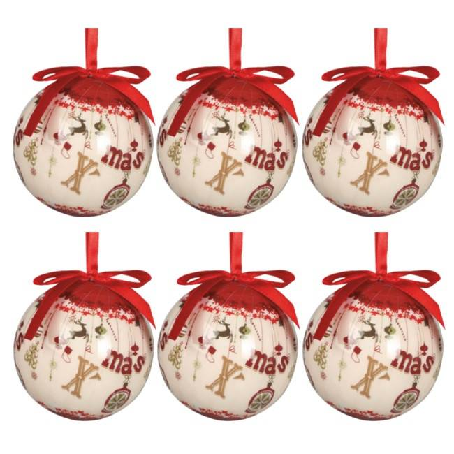 Set de 6 bolas de reno - 7,5 cm