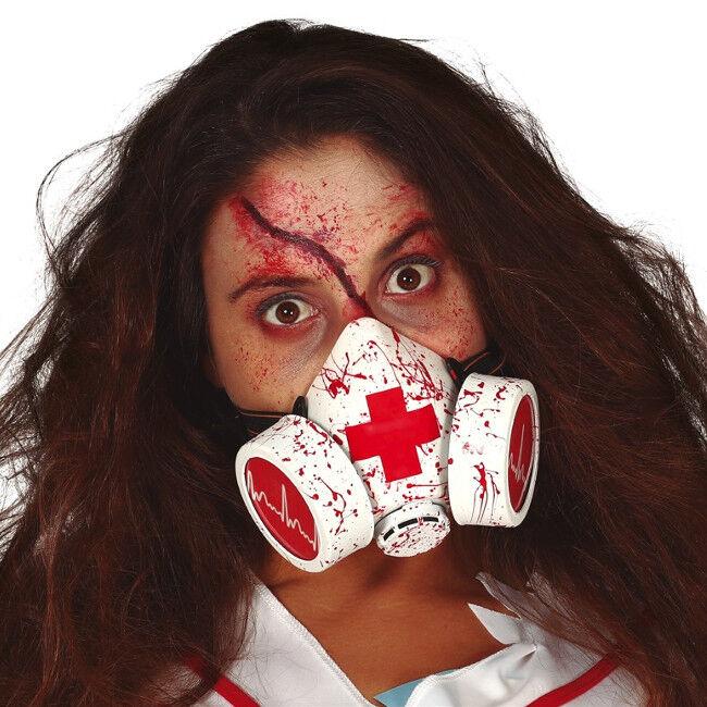Máscara antigás de enfermero ensangrentada