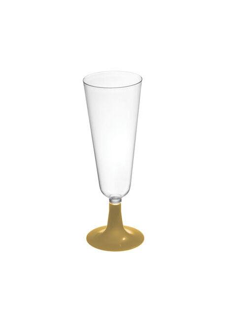 Copa de cava transparente con pie dorado de 150 ml - 4 unidades