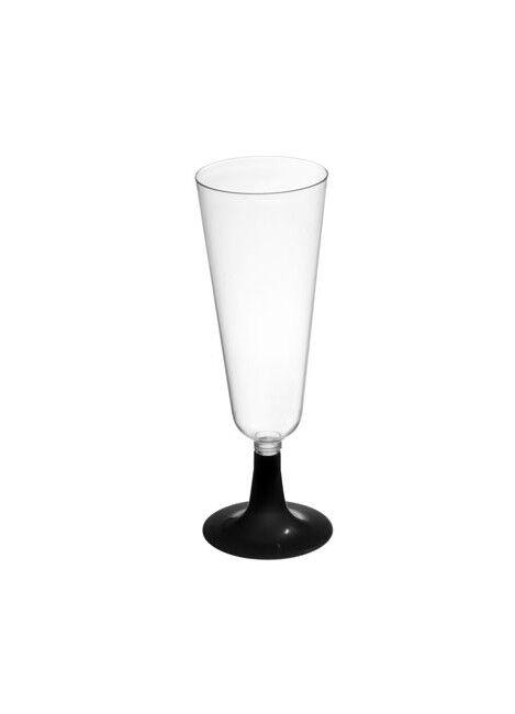 Copa de cava transparente con pie negro de 150 ml - 4 unidades