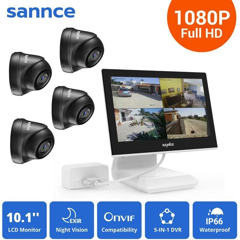SANNCE KIT Video Vigilancia con pantalla 10.1 pulgadas LCD 4CH DVR + 4 cámara