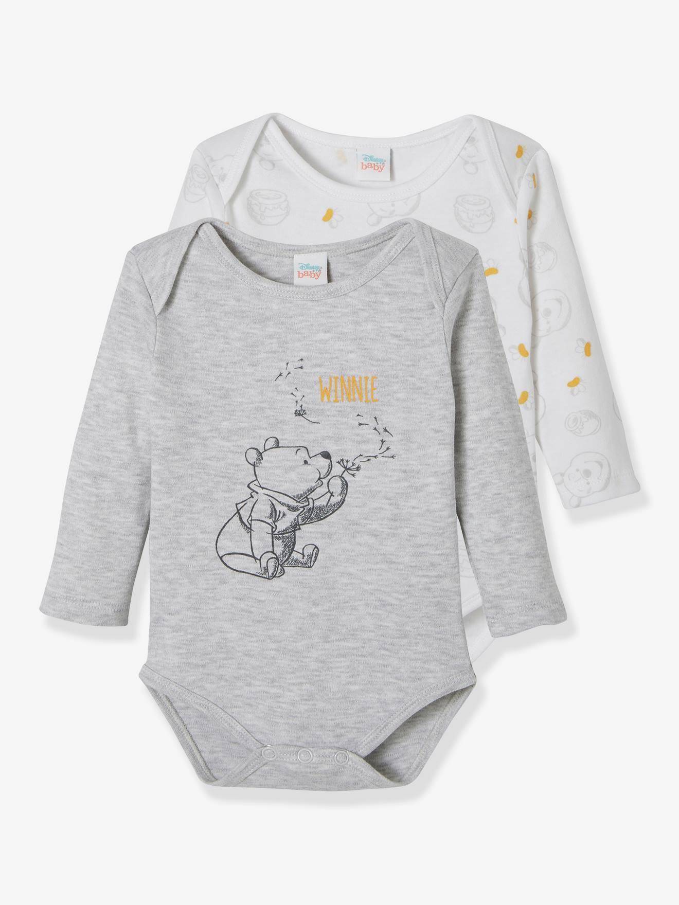 WINNIE L OURSON Lote de 2 bodies para bebé Disney Winnie The Pooh® gris claro liso con motivos