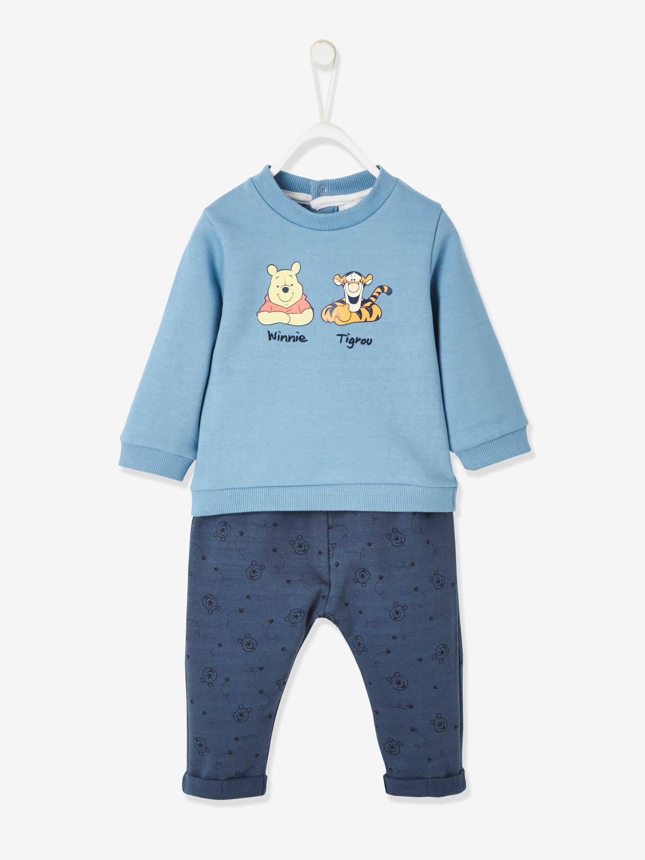 WINNIE L OURSON Conjunto Disney Oso Winnie the Pooh® con sudadera y pantalón árabe, para bebé azul oscuro liso con motivos