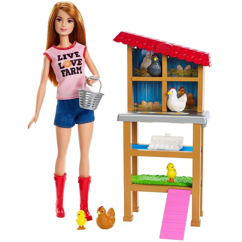 Barbie Quiero Ser Granjera De Gallinas Y Pollitos Muñeca Con Animales Y Accesori