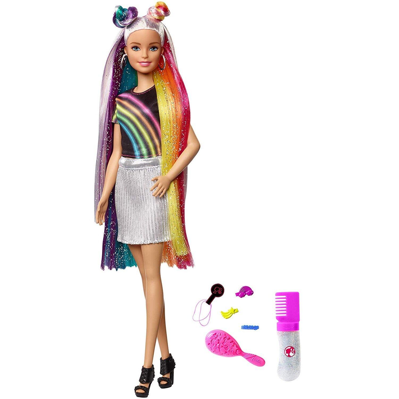 Barbie Destellos de Arociris, Muñeca Rubia con Cabello Extra Largo con Accesorio