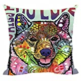"Home Decorative Cute Shiba Inu Series Pillow Covers Abstract Art Throw Pillow Case Square Decorative Pillowcases Colorful Dog For Sofa Couch Seat 20""x20""Inch"